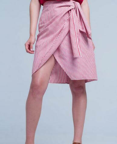 Xia Striped Midi Skirt