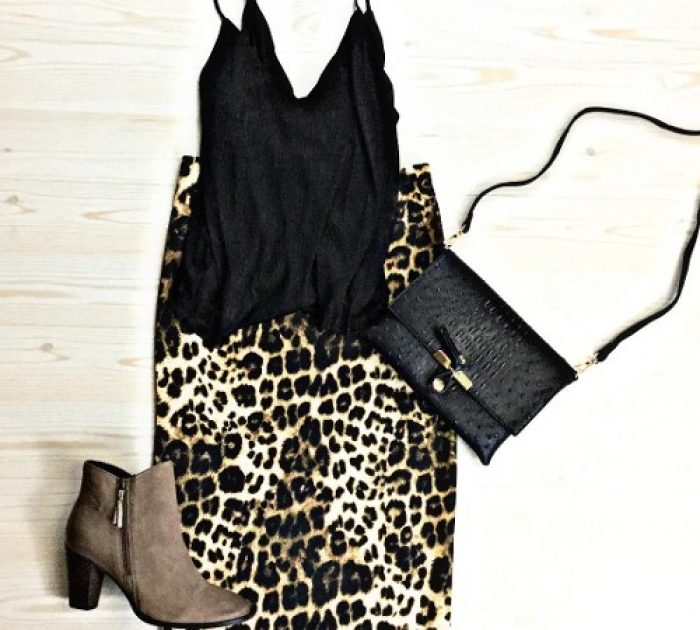 Try a lurex cami with a leopard print pencil skirt.