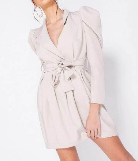 Beige Puff Sleeve Wrapover Dress