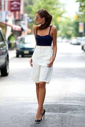 White Bermuda's & a strappy top with heeled pumps for a stunning evening look.