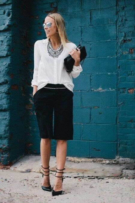 Dress to impress with Bermuda's & a crisp white blouse & heels.