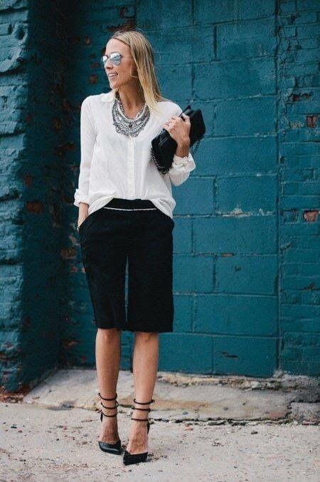 Dress to impress with Bermuda's & a crisp white blouse & heels.