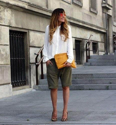 Khaki Bermuda's also look great with a crisp white shirt & paired with leopard heels.