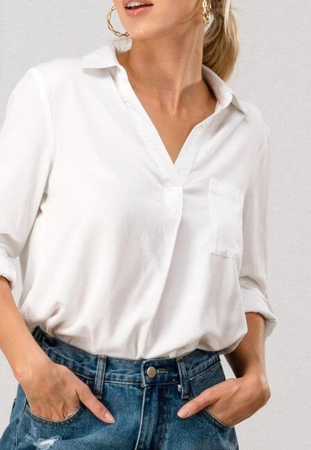 White V Neck Shirt