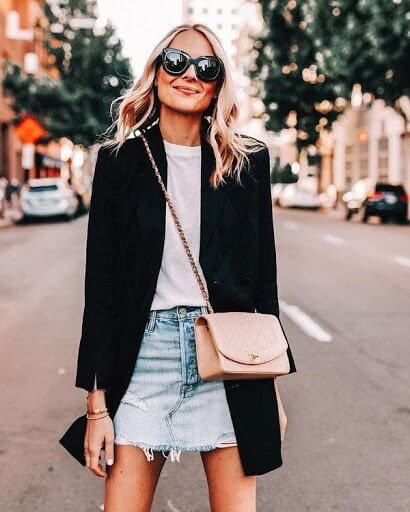 Denim skirt & tee paired with a longline blazer for a casual, cool look.