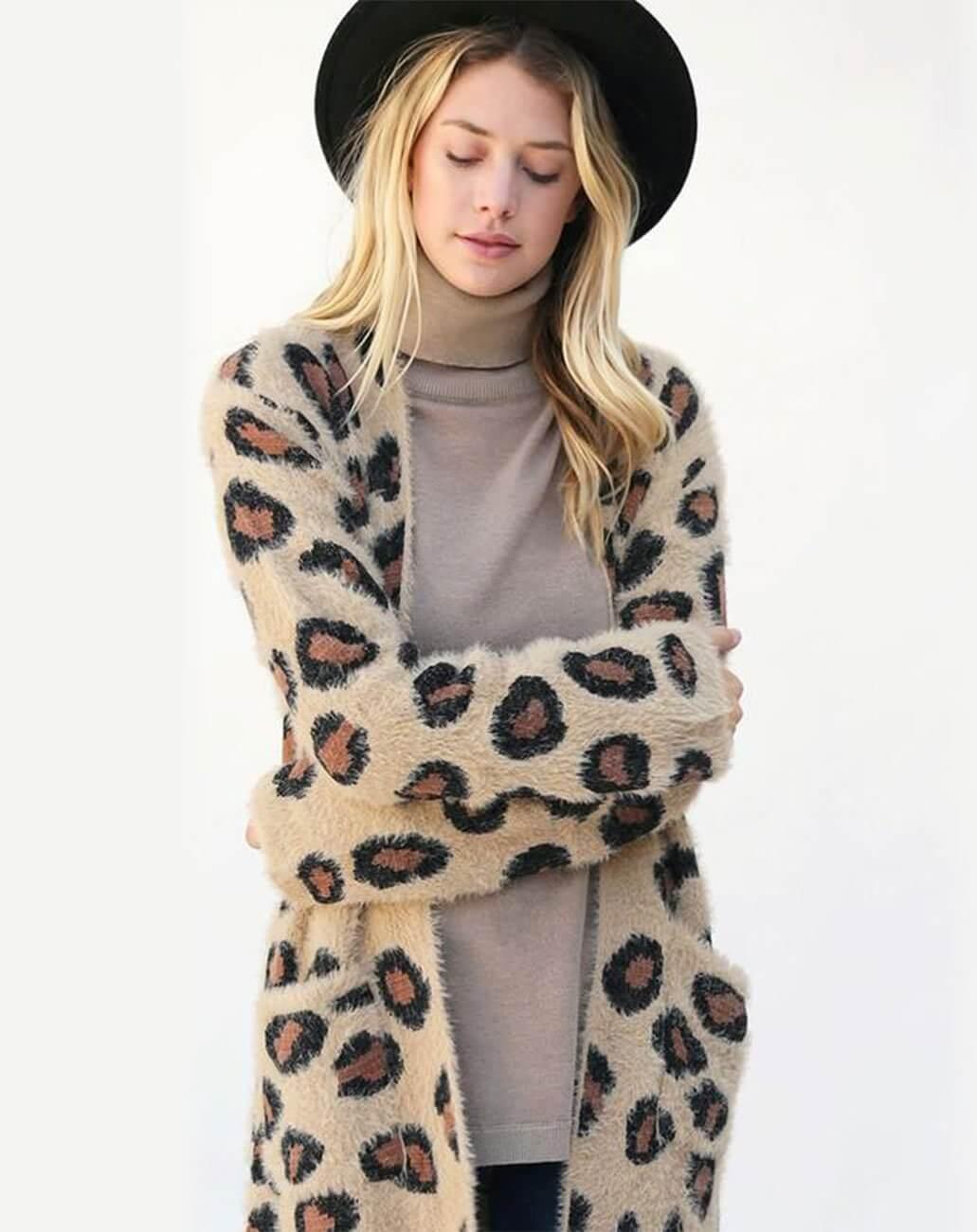 Fuzzy Leopard Cardigan